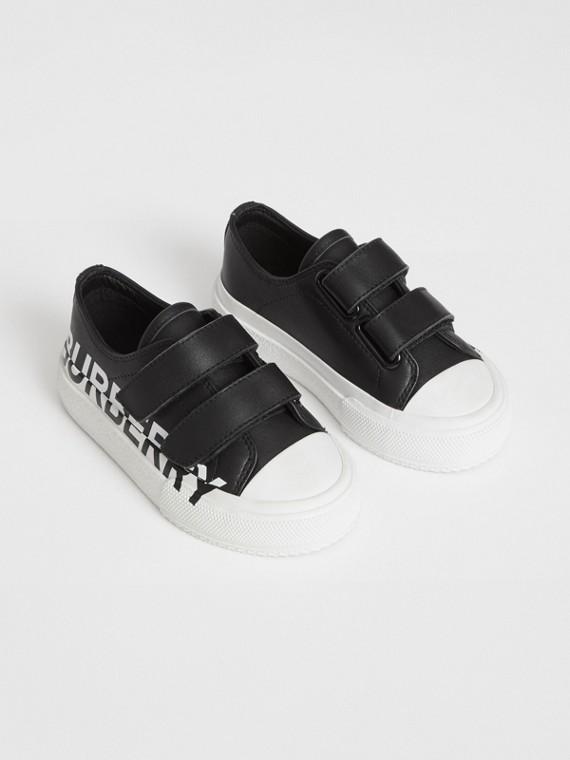 Sneakers en cuir bicolore avec logo (Noir/blanc)