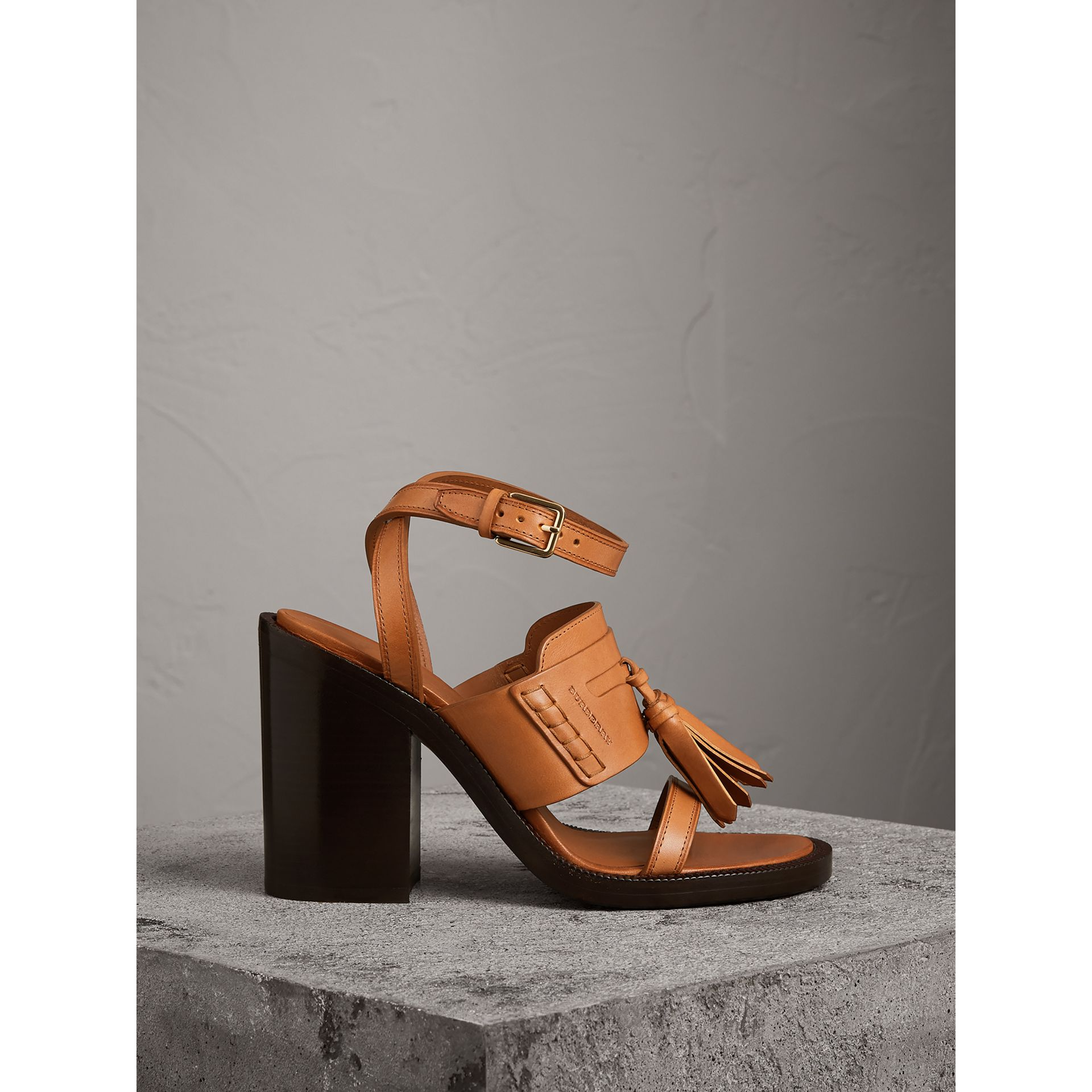 Tasselled Leather Block-heel Sandals in Amber - Women | Burberry - gallery image 0