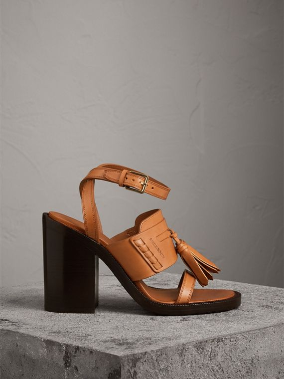 Tasselled Leather Block-heel Sandals in Amber