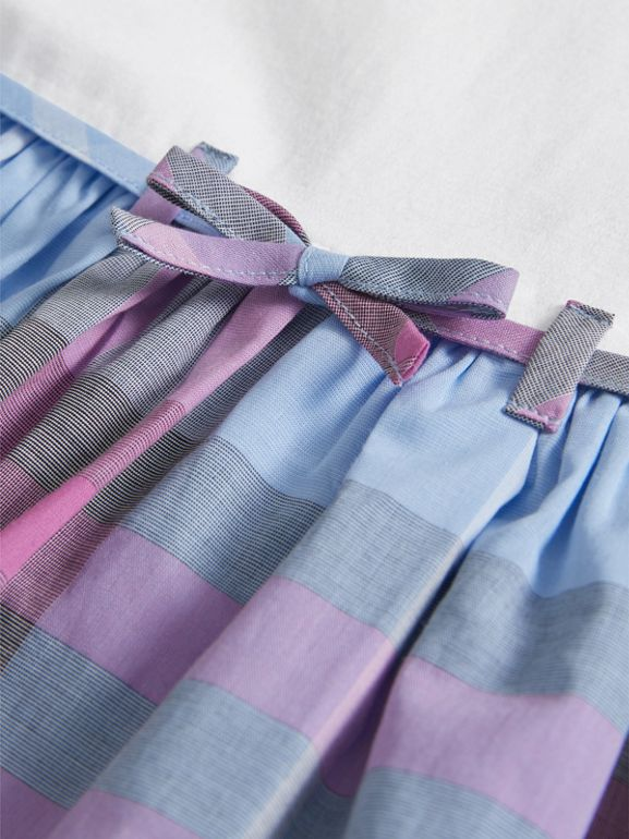 Check Cotton Dress in Chalk Blue | Burberry - cell image 1