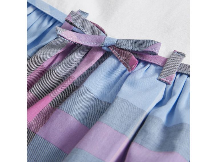 Check Cotton Dress in Chalk Blue - Girl | Burberry United Kingdom - cell image 1