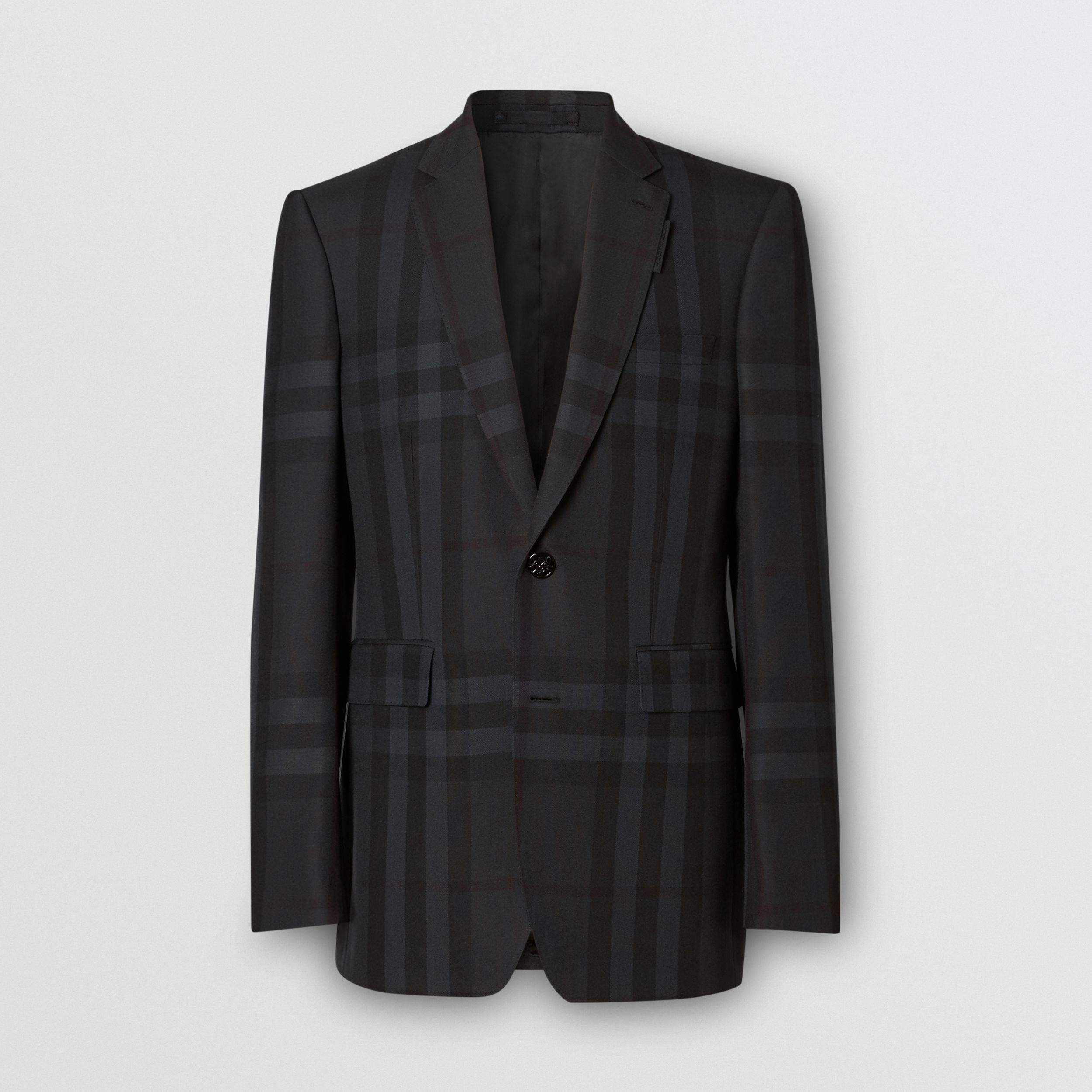 Classic Fit Check Wool Tailored Jacket in Charcoal - Men | Burberry - 4