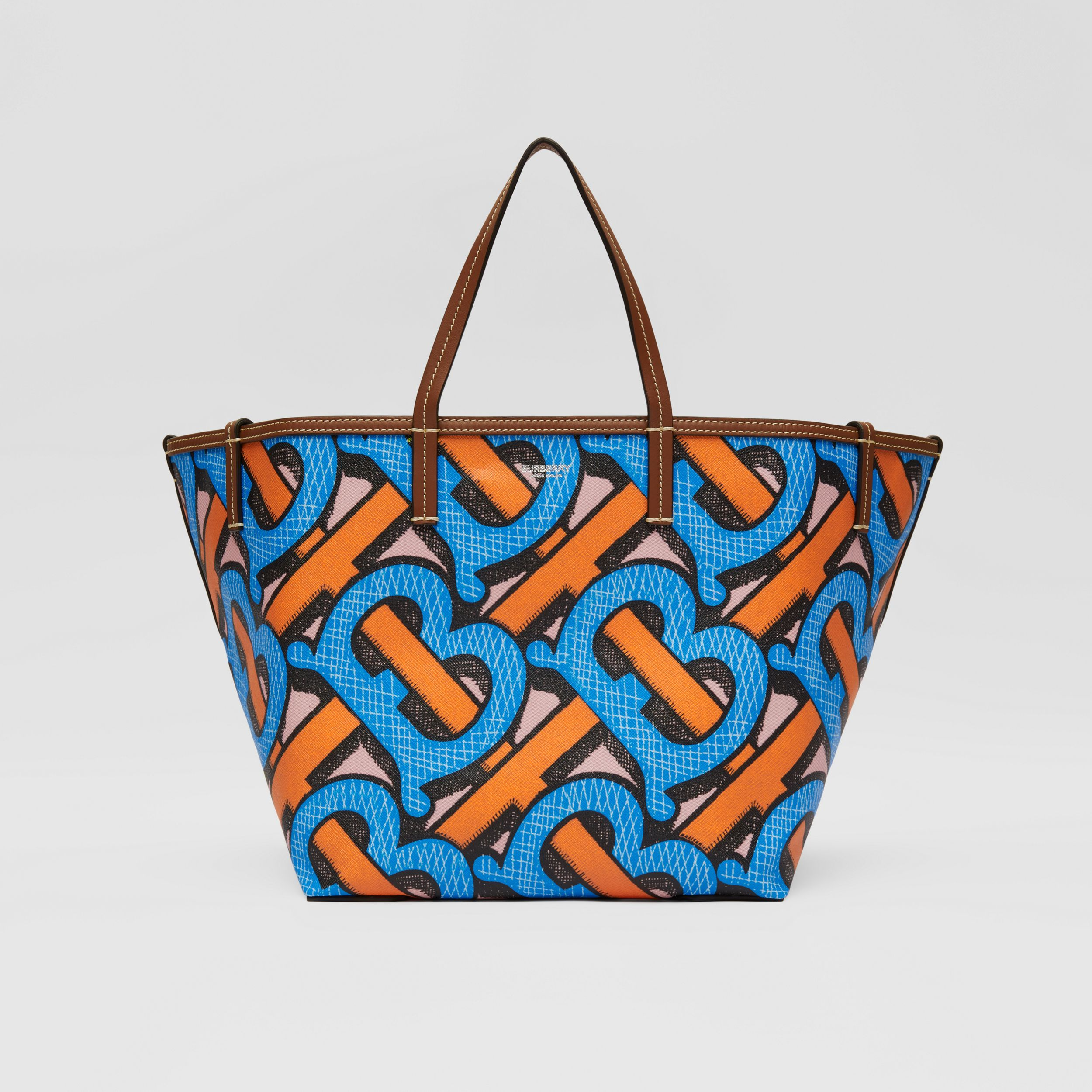 Mini Monogram Print E-canvas Beach Tote in Bright Cobalt | Burberry - 1