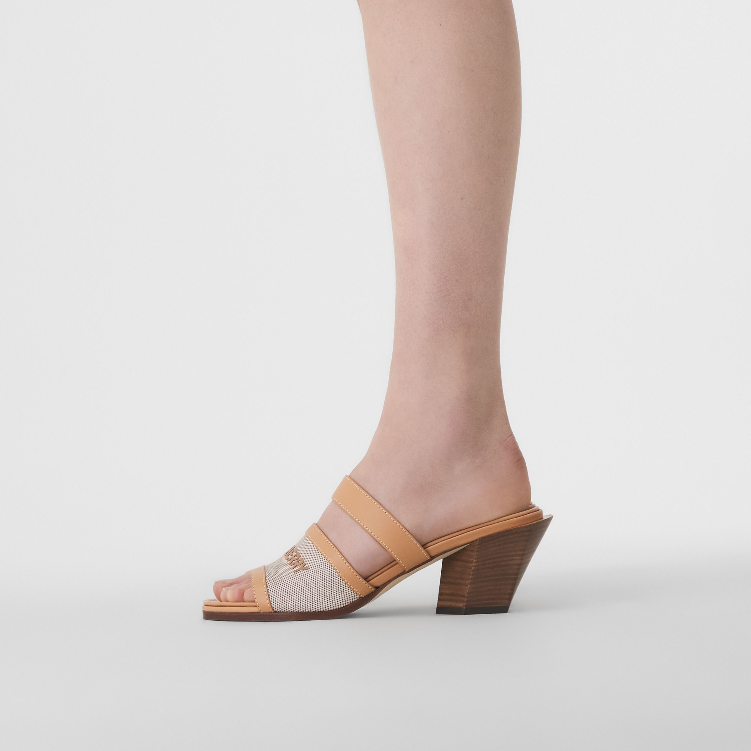 Logo Print Canvas and Leather Mules in Warm Sand/soft Fawn - Women | Burberry - 3