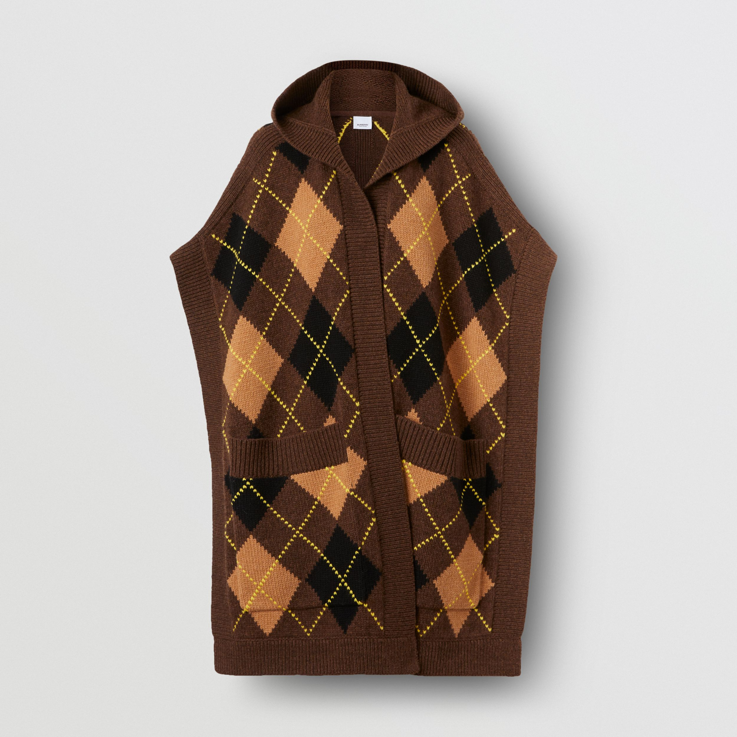 Argyle Intarsia Wool Cashmere Hooded Cape in Brown - Women | Burberry Hong Kong S.A.R. - 4