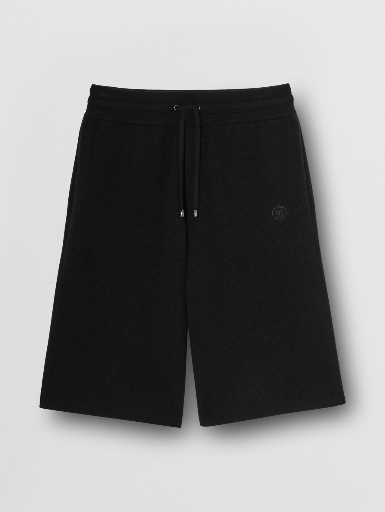 Monogram Motif Cashmere Drawcord Shorts in Black