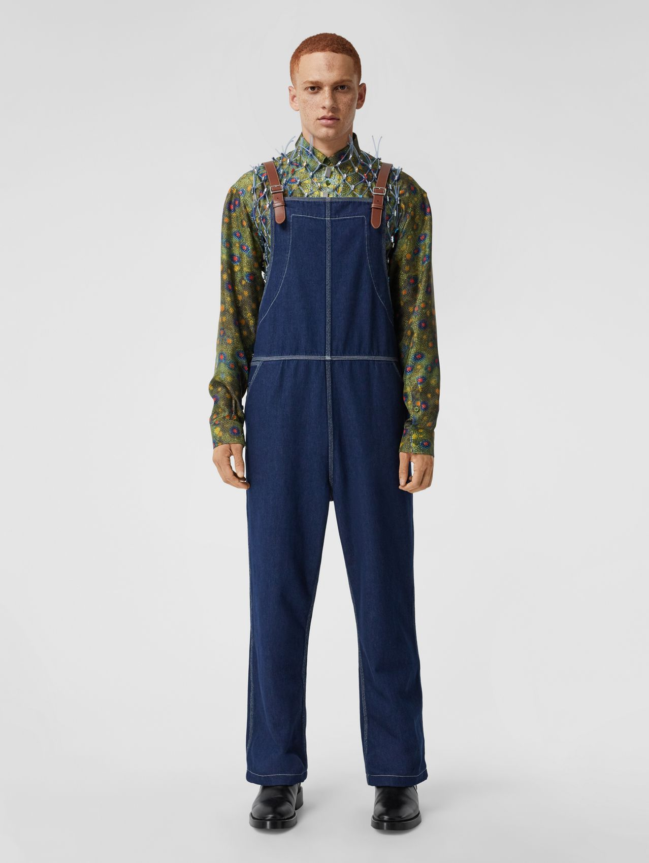 Topstitched Denim Bib-front Trousers in Dark Canvas Blue