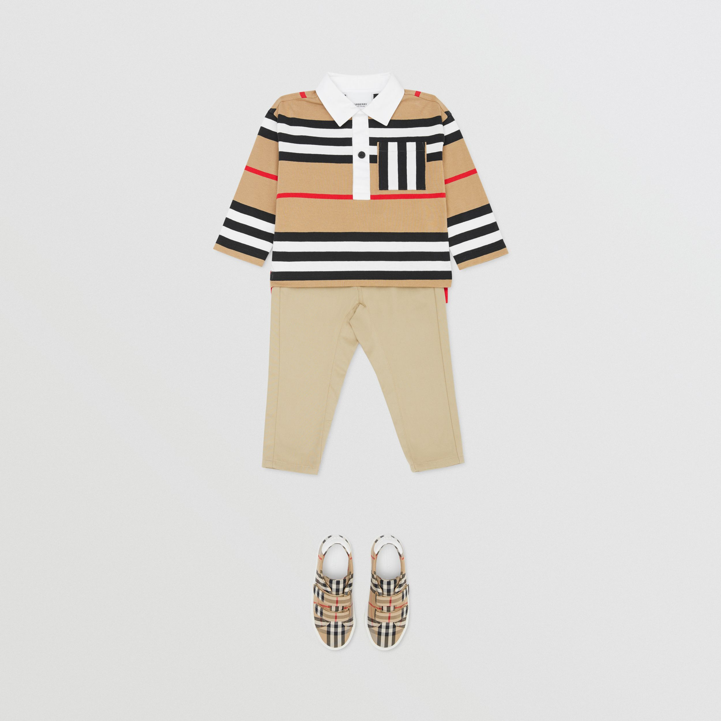 Long-sleeve Icon Stripe Cotton Top in Archive Beige - Children | Burberry - 3