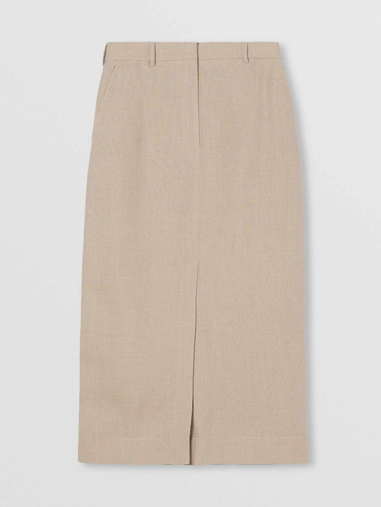 Linen Tailored Pencil Skirt in Oatmeal