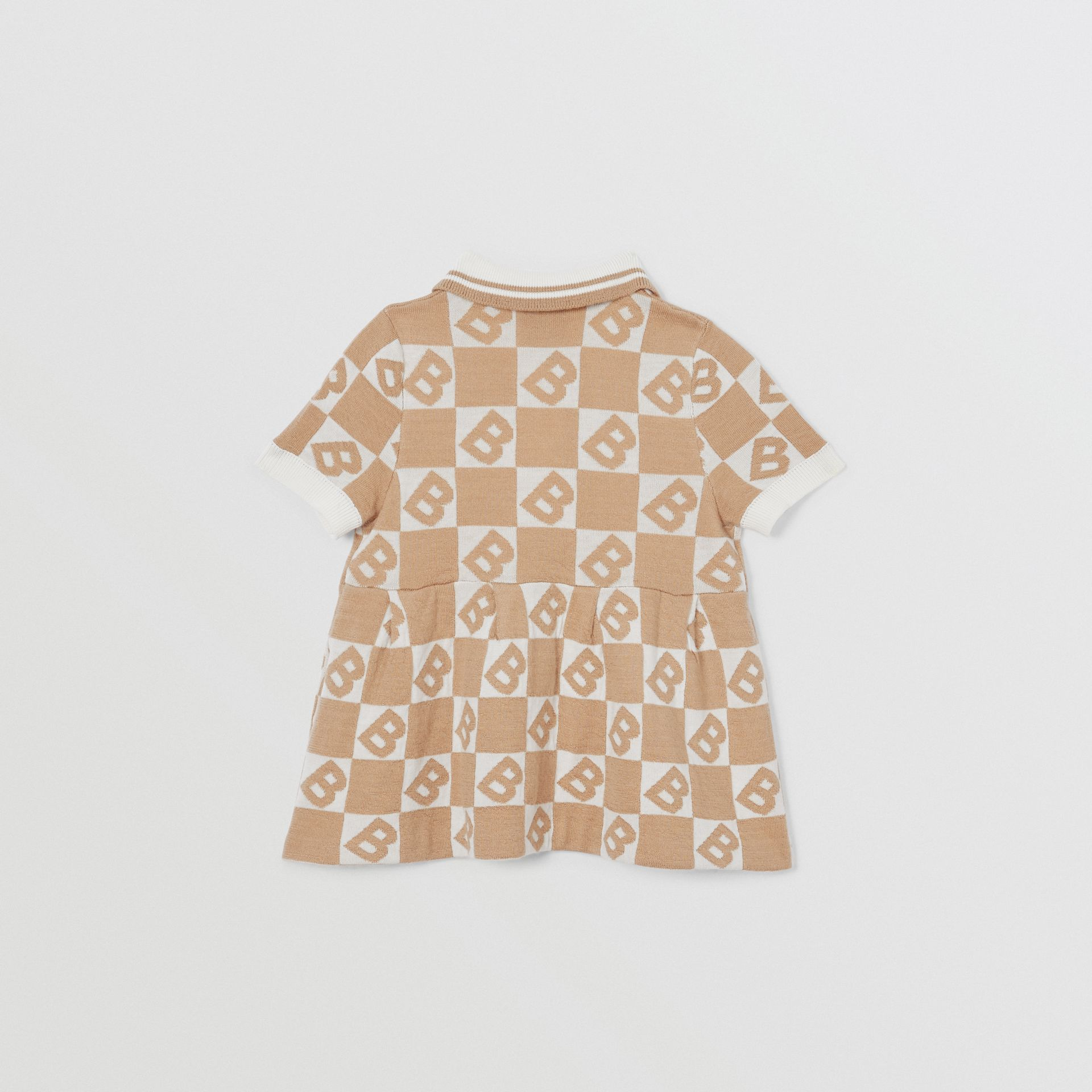 B Motif Cotton Merino Wool Cashmere Dress in Light Camel - Children | Burberry - gallery image 3