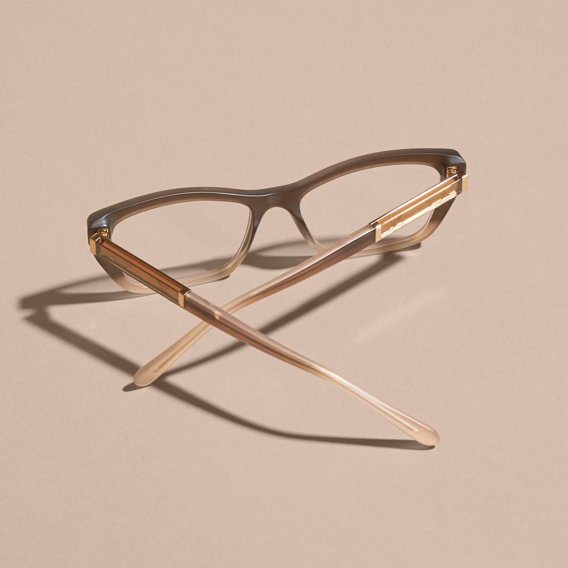 Check Detail Rectangular Cat-eye Optical Frames Carnation Melange - gallery image 5