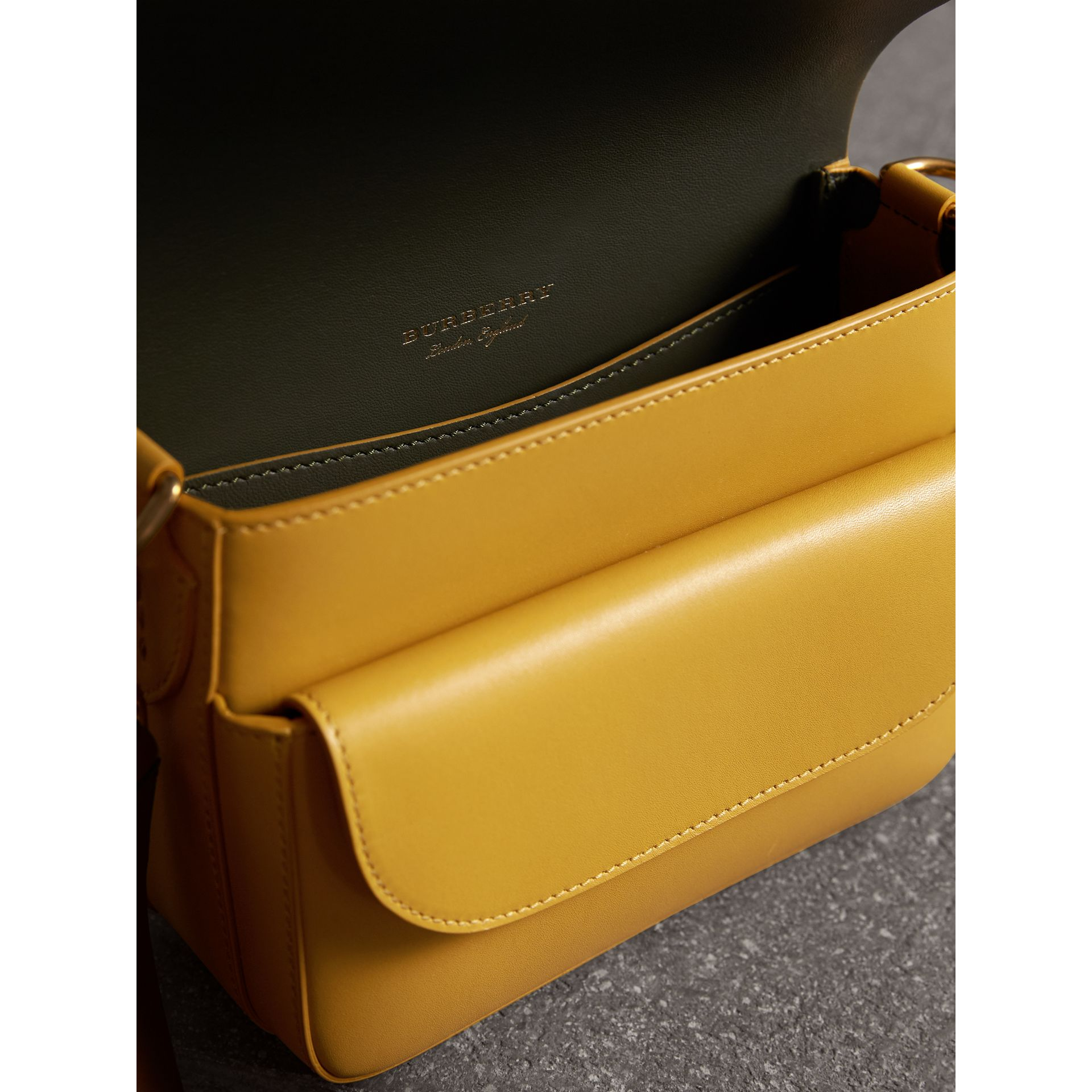 The Square Satchel in Leather in Larch Yellow - Women | Burberry United Kingdom - gallery image 4