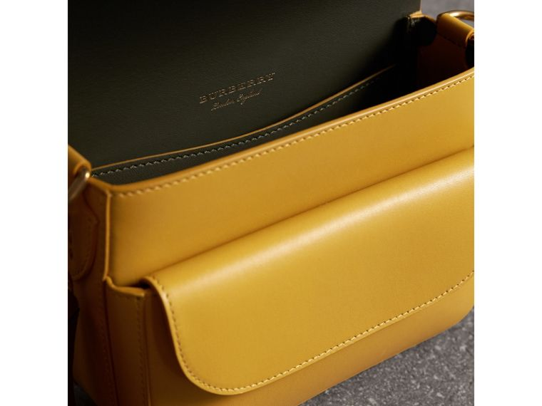 The Square Satchel in Leather in Larch Yellow - Women | Burberry Australia - cell image 4