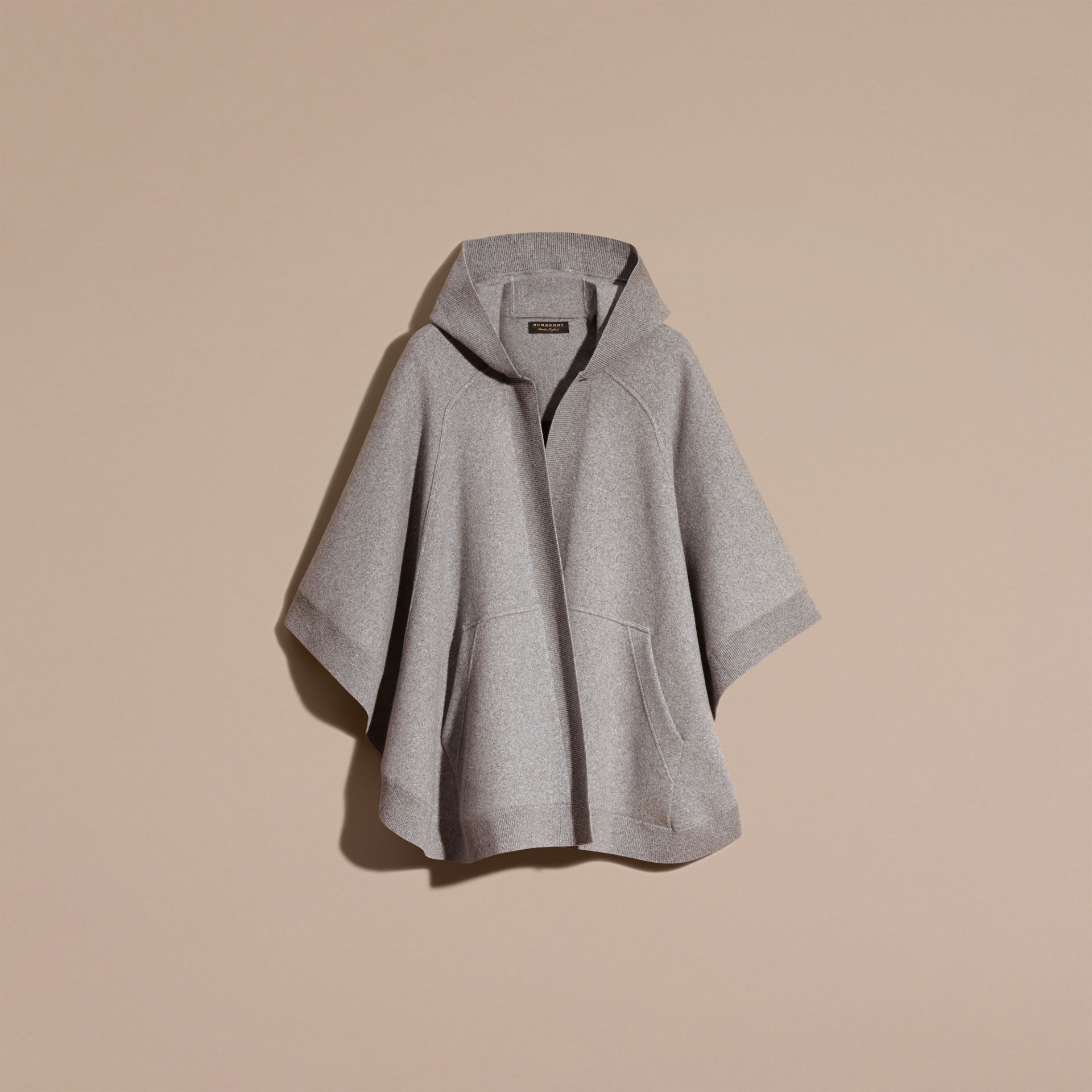 Wool Cashmere Blend Hooded Poncho in Mid Grey Melange - gallery image 4