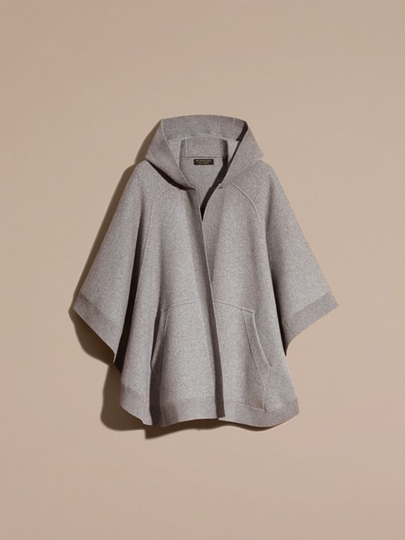 Wool Cashmere Blend Hooded Poncho in Mid Grey Melange - Women | Burberry - cell image 3