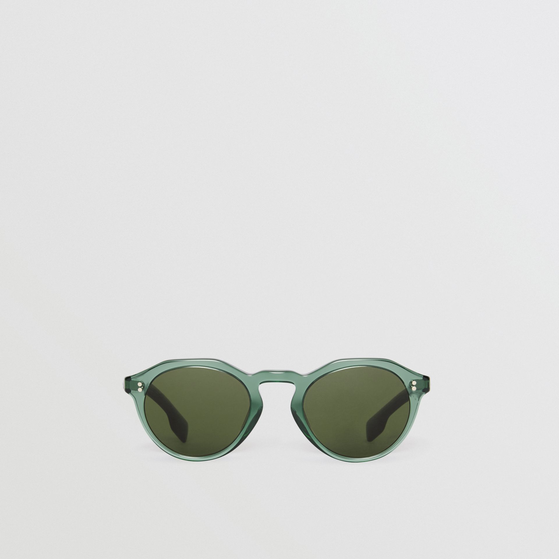 Keyhole Round Frame Sunglasses in Green - Men | Burberry - gallery image 0
