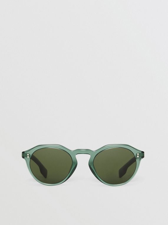 Keyhole Round Frame Sunglasses in Green