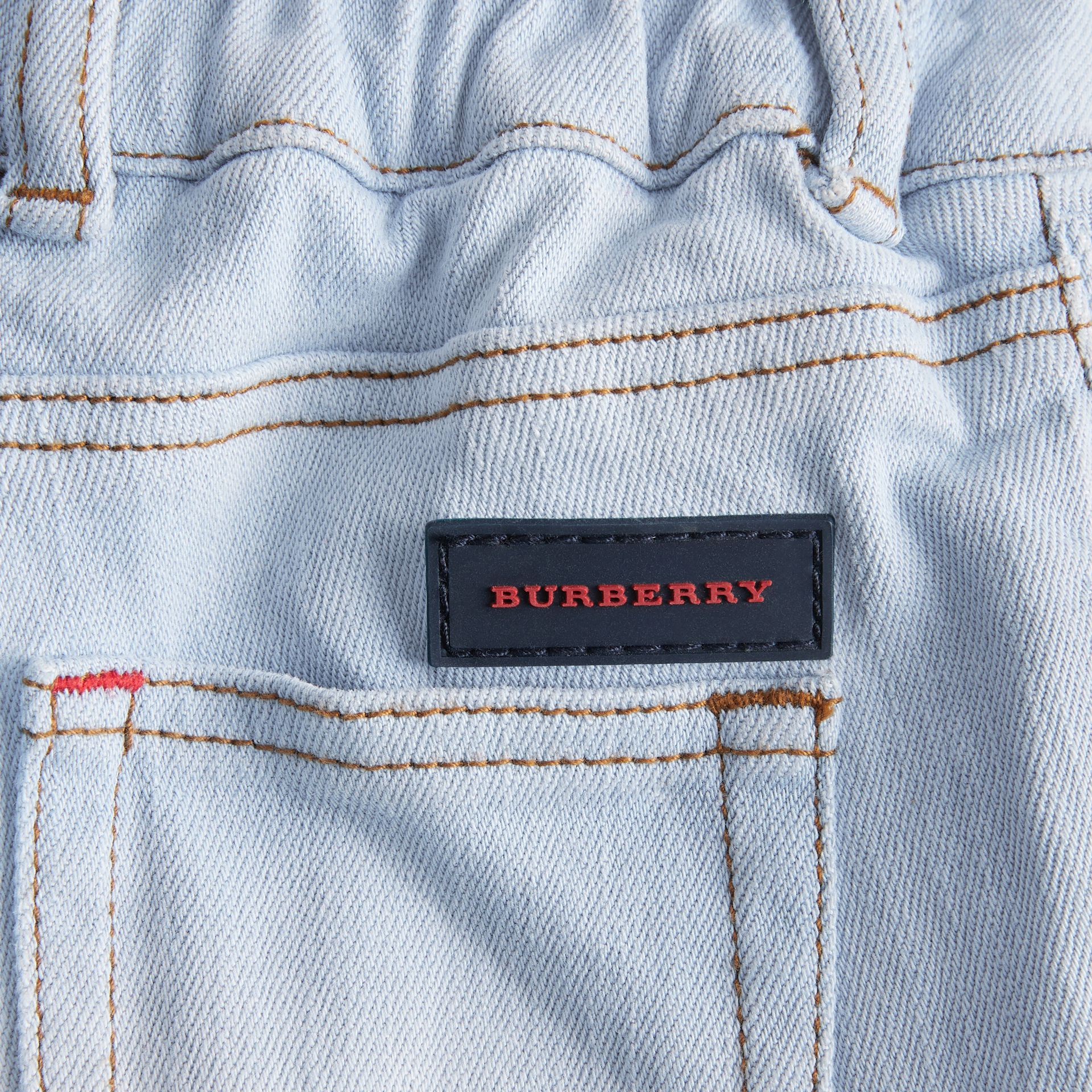 Relaxed Fit Stretch Denim Jeans in Light Blue - Children | Burberry United Kingdom - gallery image 1