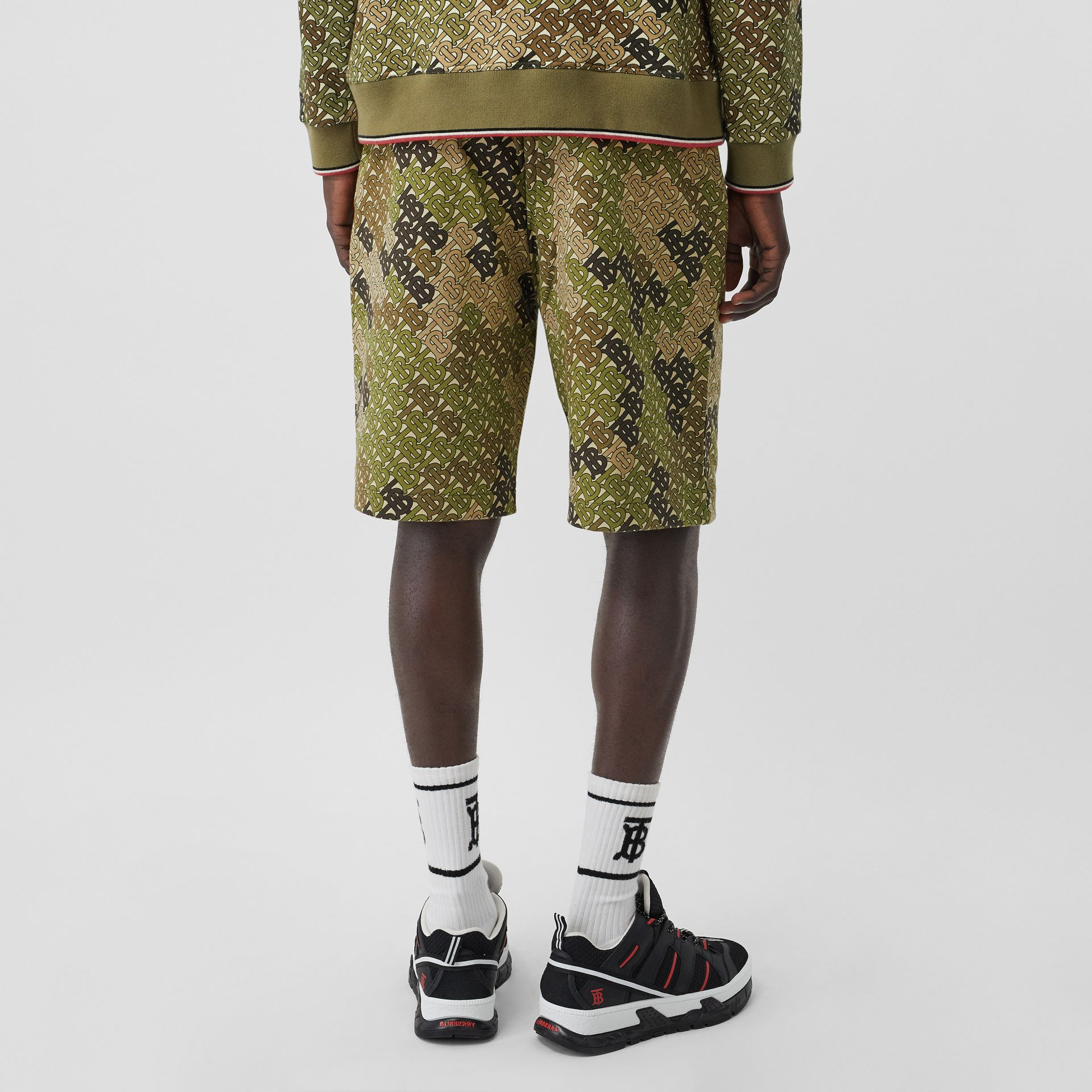 Monogram Print Cotton Drawcord Shorts in Khaki Green - Men | Burberry - gallery image 2