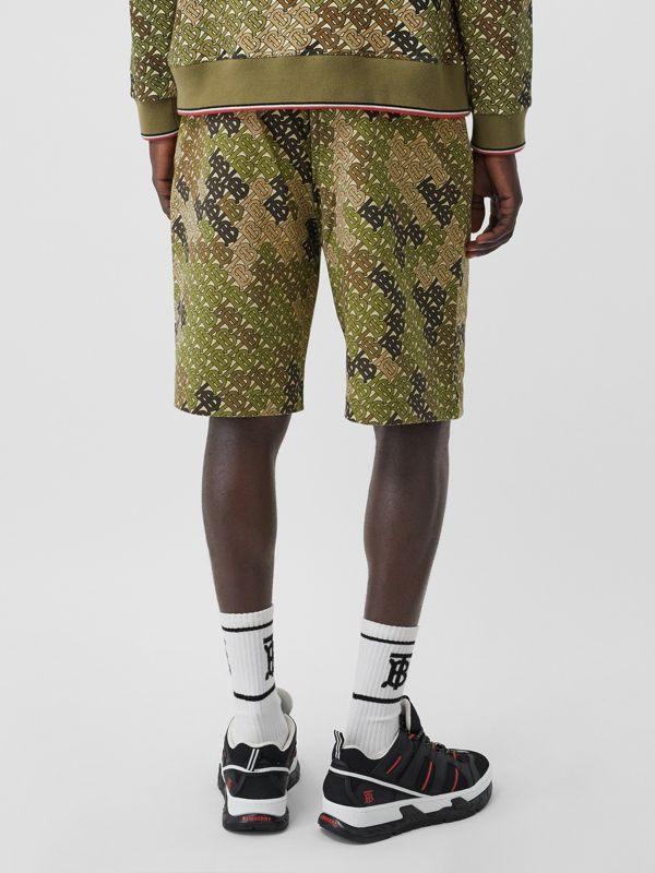 Monogram Print Cotton Drawcord Shorts in Khaki Green - Men | Burberry - cell image 2