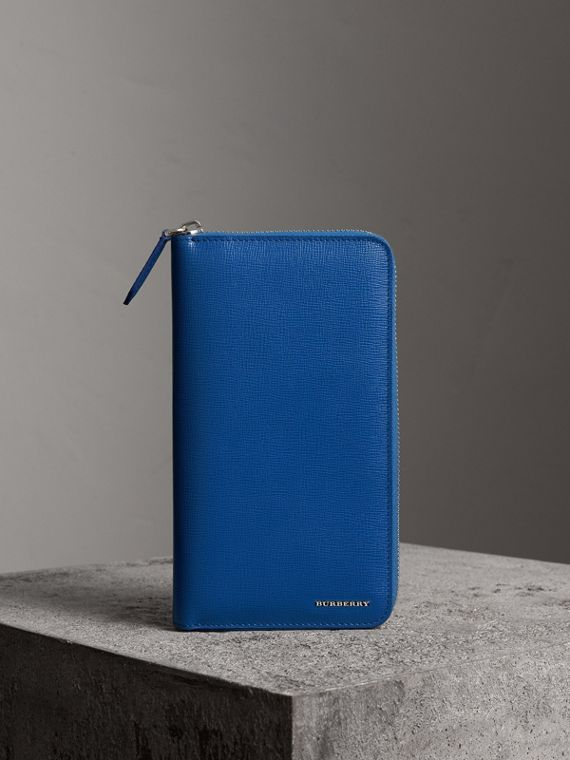 London Leather Ziparound Wallet in Deep Blue