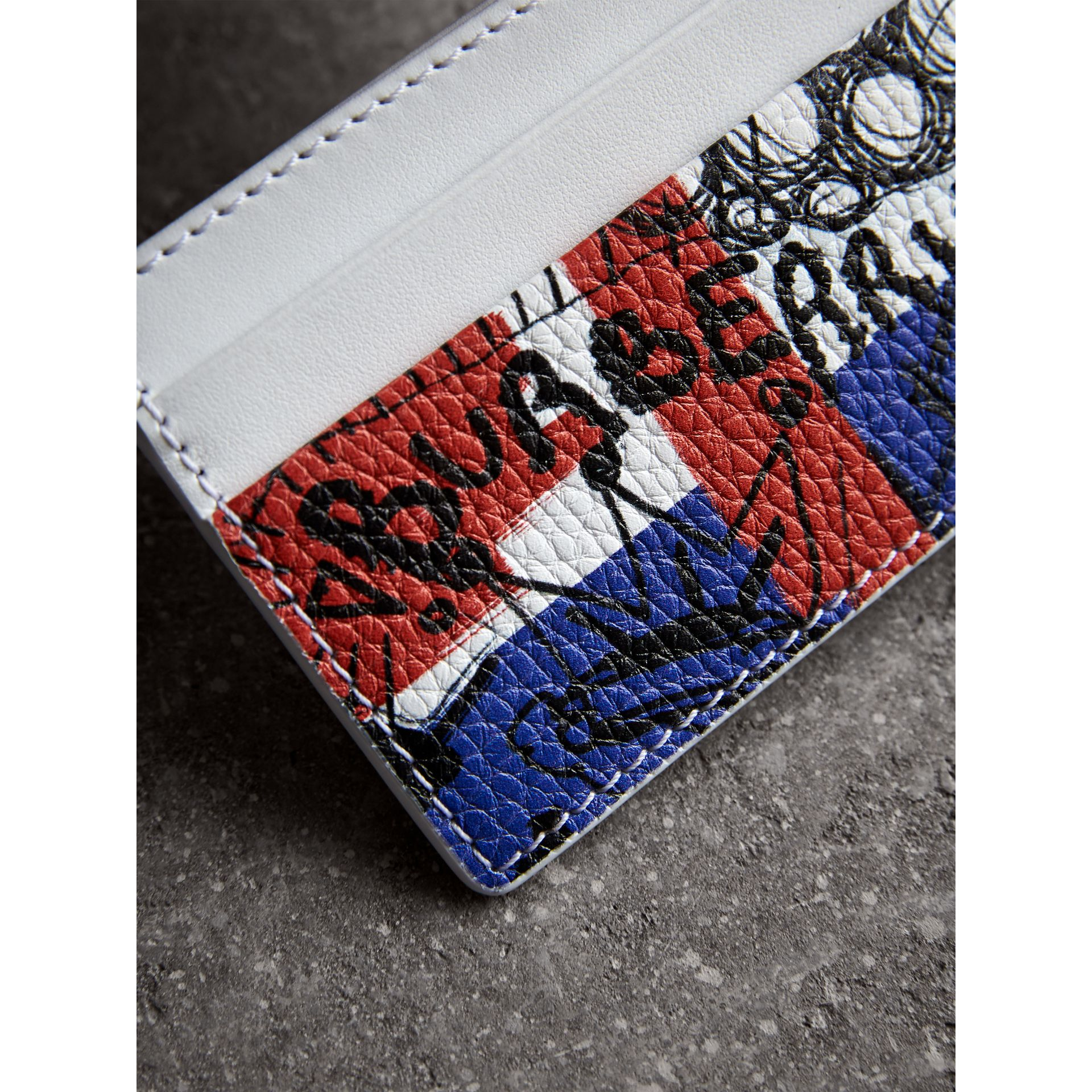 Doodle Print Leather Card Case in Red/blue | Burberry - gallery image 1