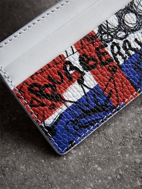 Doodle Print Leather Card Case in Red/blue | Burberry United Kingdom - cell image 1