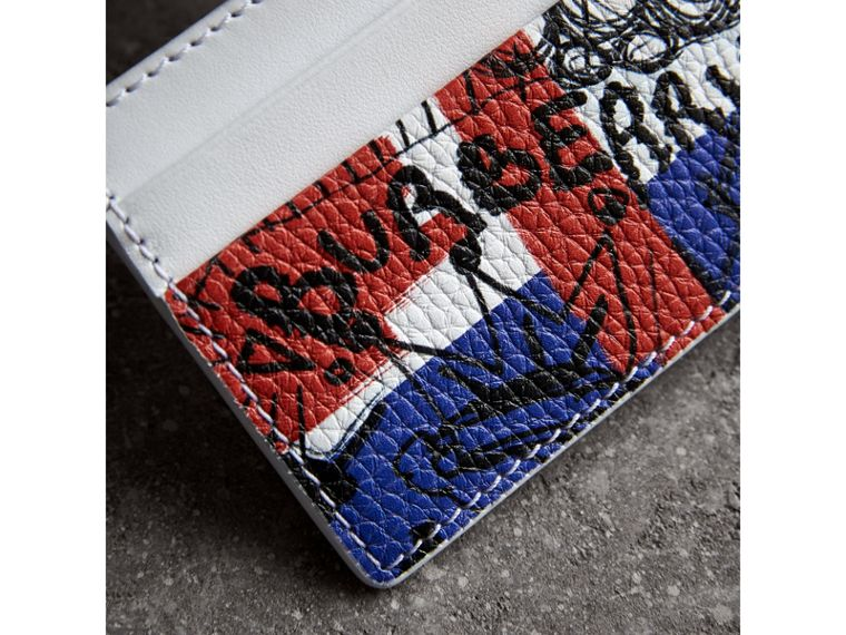 Doodle Print Leather Card Case in Red/blue | Burberry - cell image 1