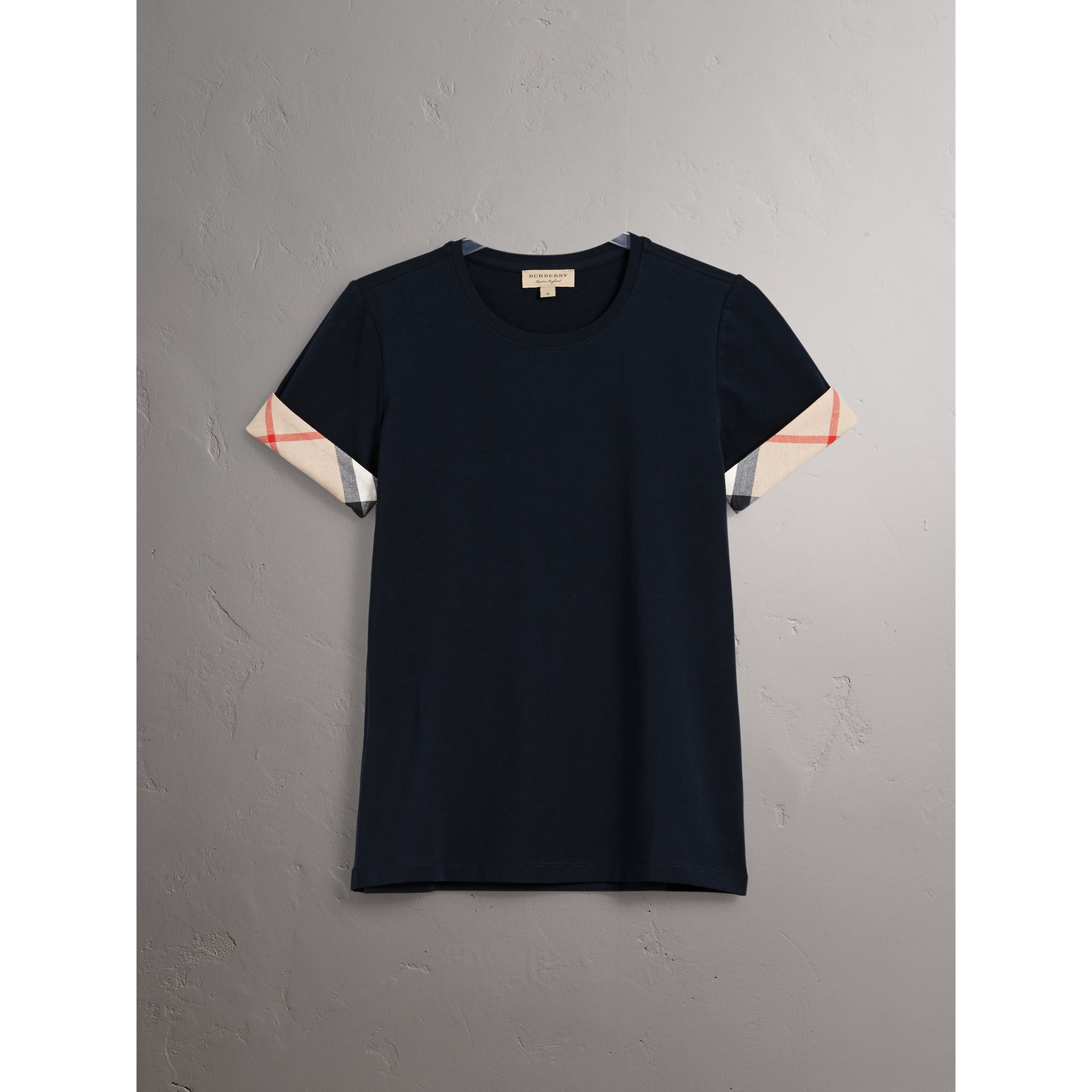 Check Cuff Stretch Cotton T-Shirt in Navy - Women | Burberry - gallery image 3