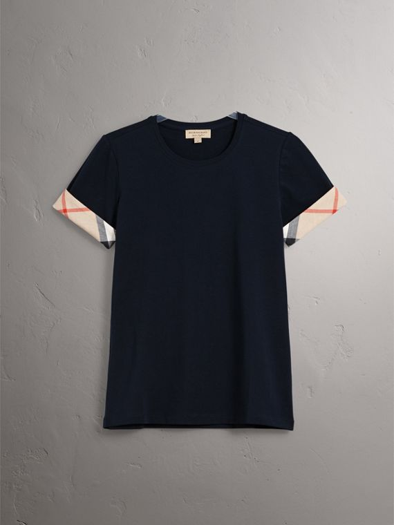 Check Cuff Stretch Cotton T-Shirt in Navy - Women | Burberry - cell image 3