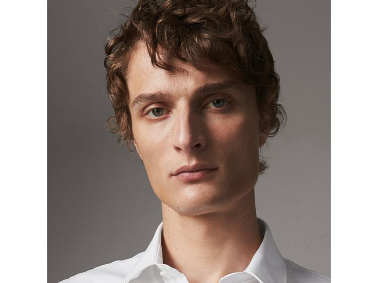 Modern Fit Short-sleeved Stretch Cotton Shirt in White - Men | Burberry - cell image 4