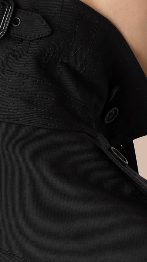 Black Cotton Gabardine Trench Coat - Image 2