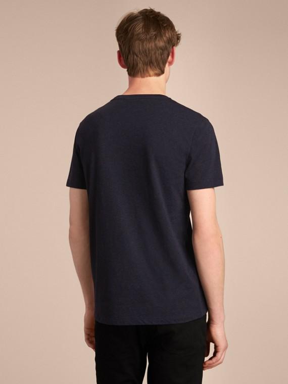 Contrast Motif Cotton Blend T-shirt Navy Melange - cell image 2