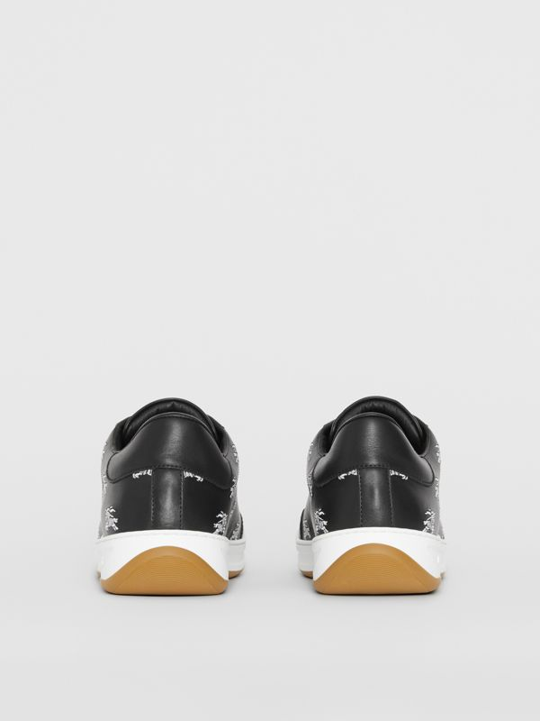 Logo Print Leather Sneakers in Black - Men | Burberry Canada - cell image 3