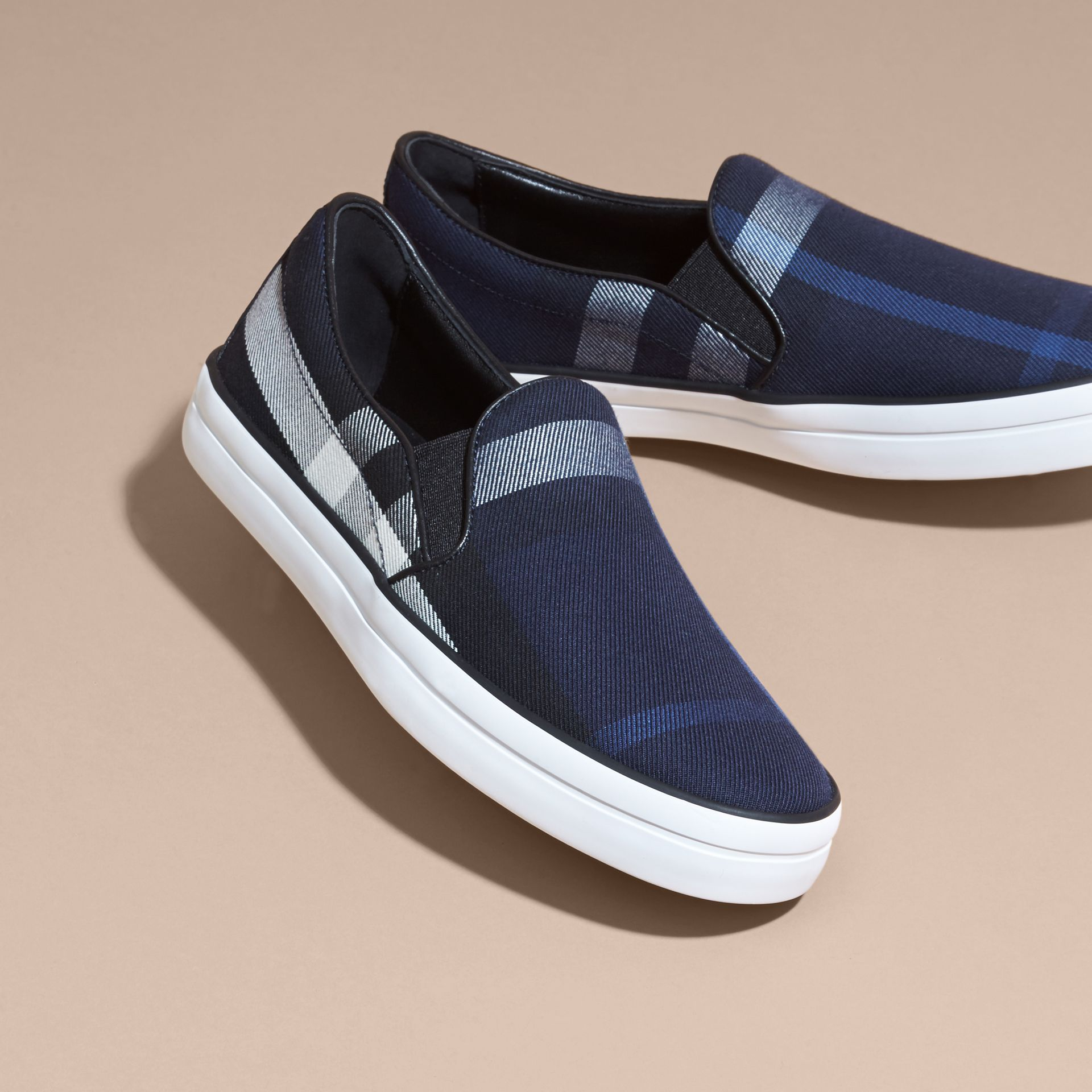 Overdyed House Check Cotton Slip-on Trainers Indigo Blue - gallery image 3