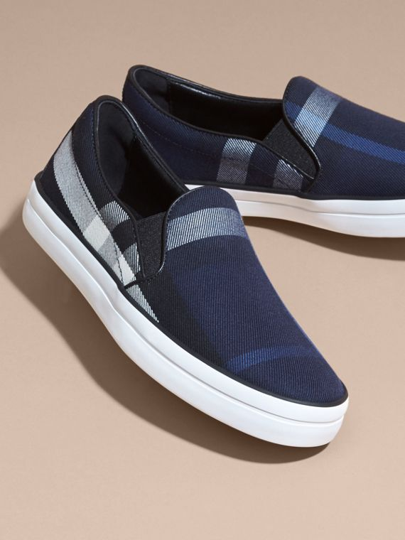 Overdyed House Check Cotton Slip-on Trainers in Indigo Blue - Women | Burberry - cell image 2