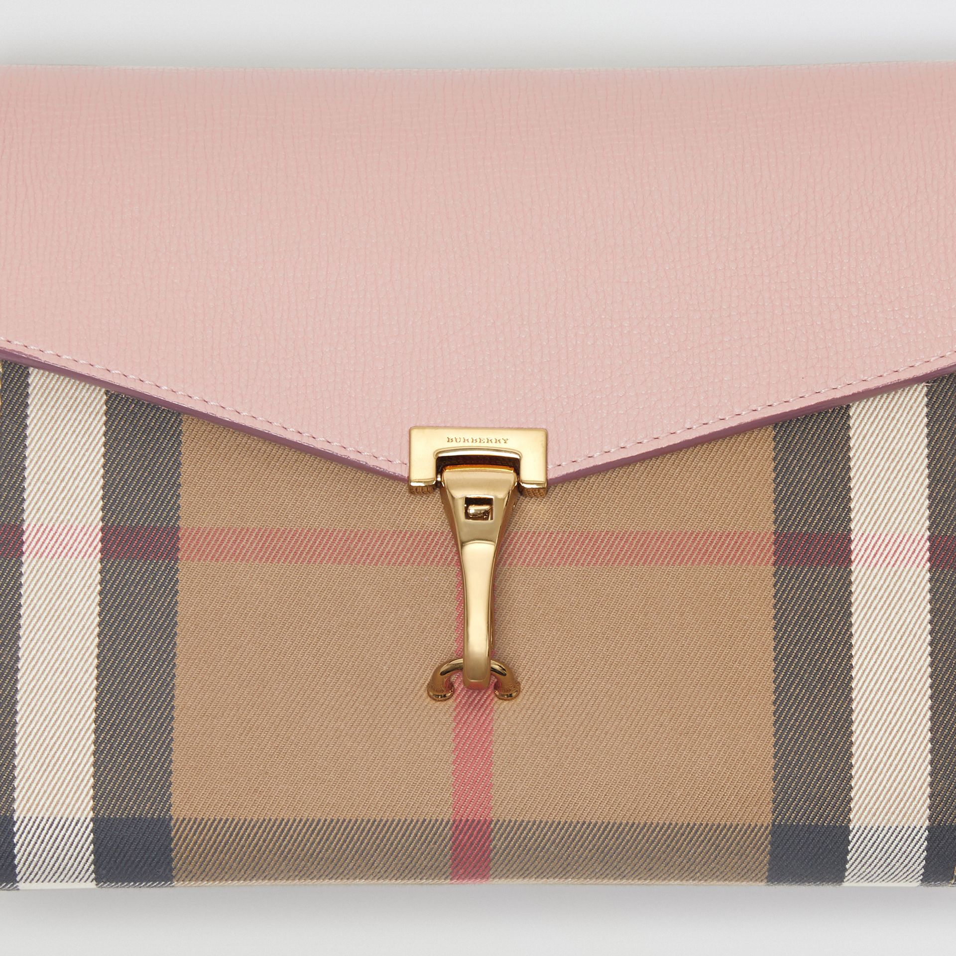 Small Leather and House Check Crossbody Bag in Pale Orchid - Women | Burberry Australia - gallery image 1