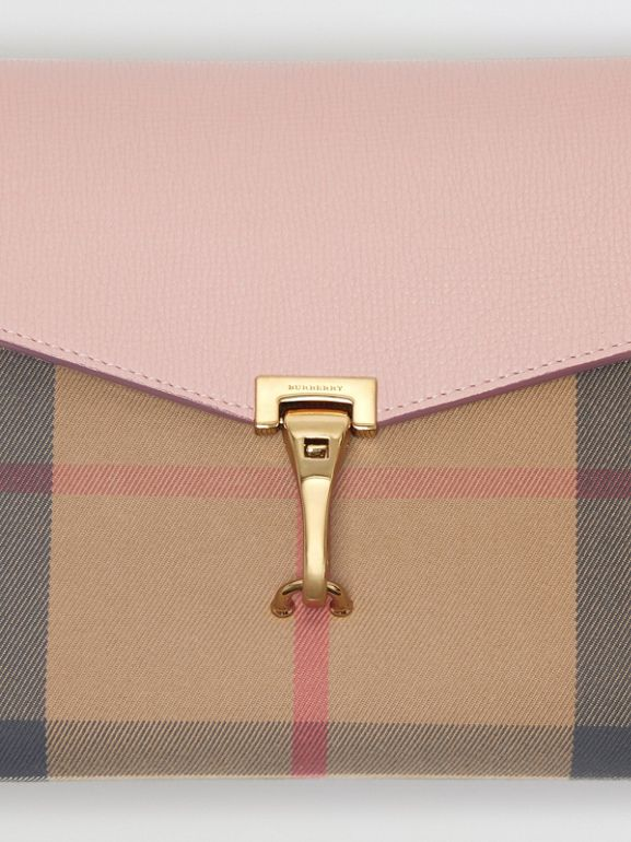 Small Leather and House Check Crossbody Bag in Pale Orchid - Women | Burberry - cell image 1