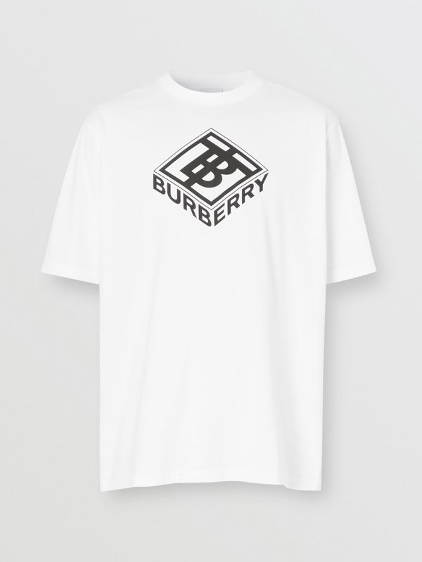 Logo Graphic Cotton T-shirt in White - Men | Burberry - cell image 3