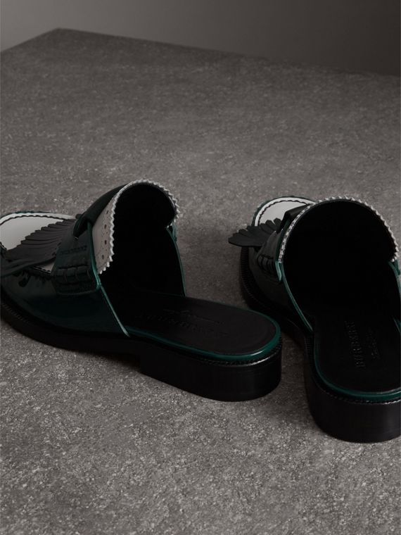 Tri-tone Kiltie Fringe Leather Mules in Dark Forest Green - Women | Burberry - cell image 3