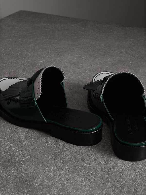 Tri-tone Kiltie Fringe Leather Mules in Dark Forest Green - Women | Burberry United Kingdom - cell image 3
