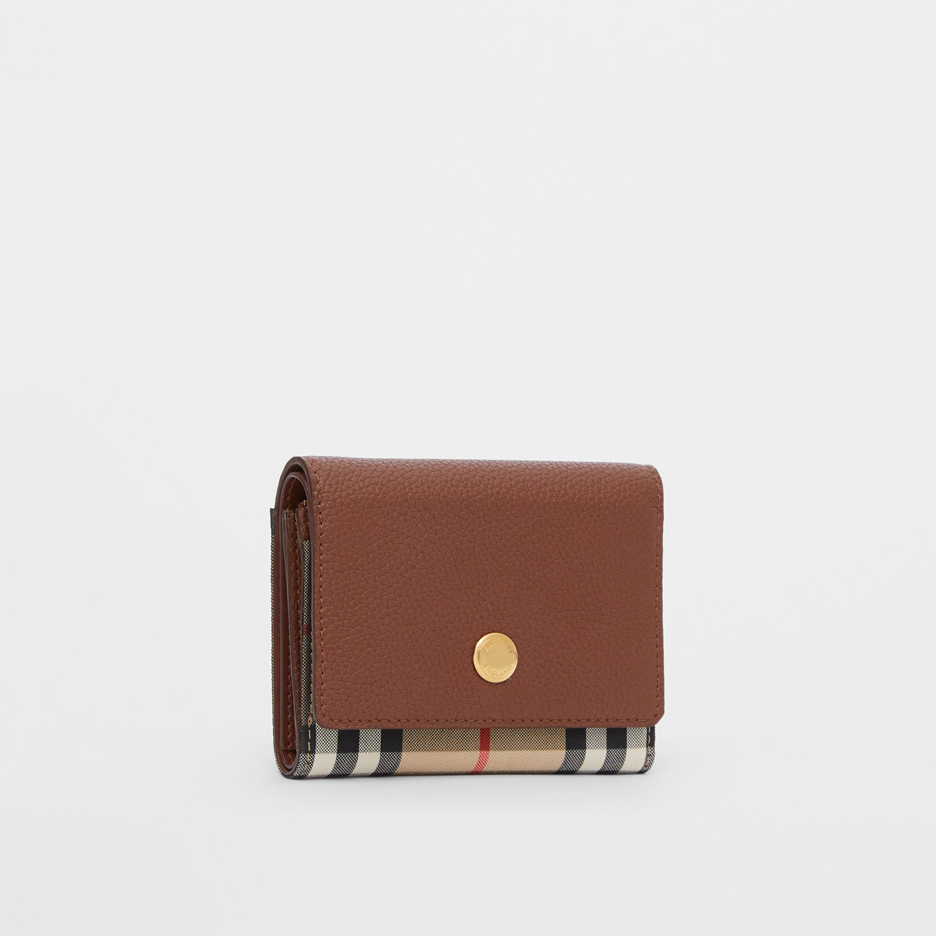 Small Vintage Check and Leather Folding Wallet in Tan - Women | Burberry - gallery image 3