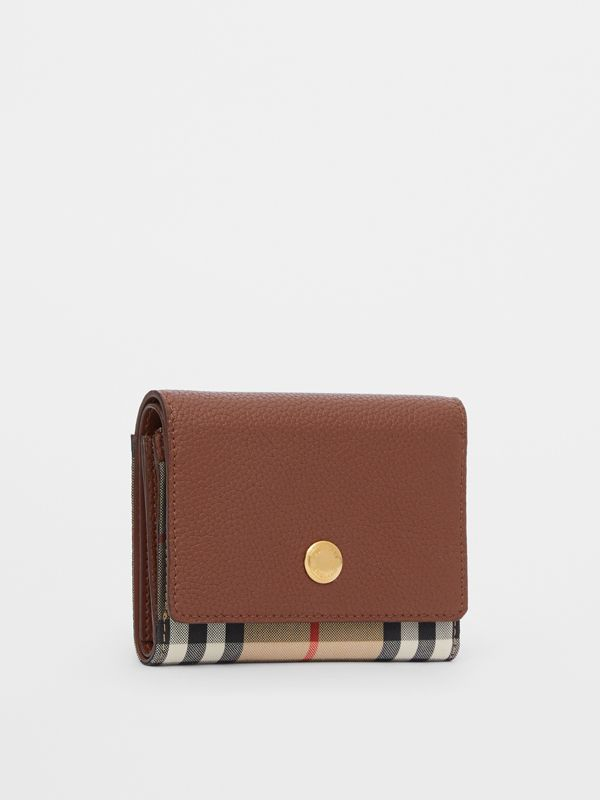 Small Vintage Check and Leather Folding Wallet in Tan - Women | Burberry - cell image 3