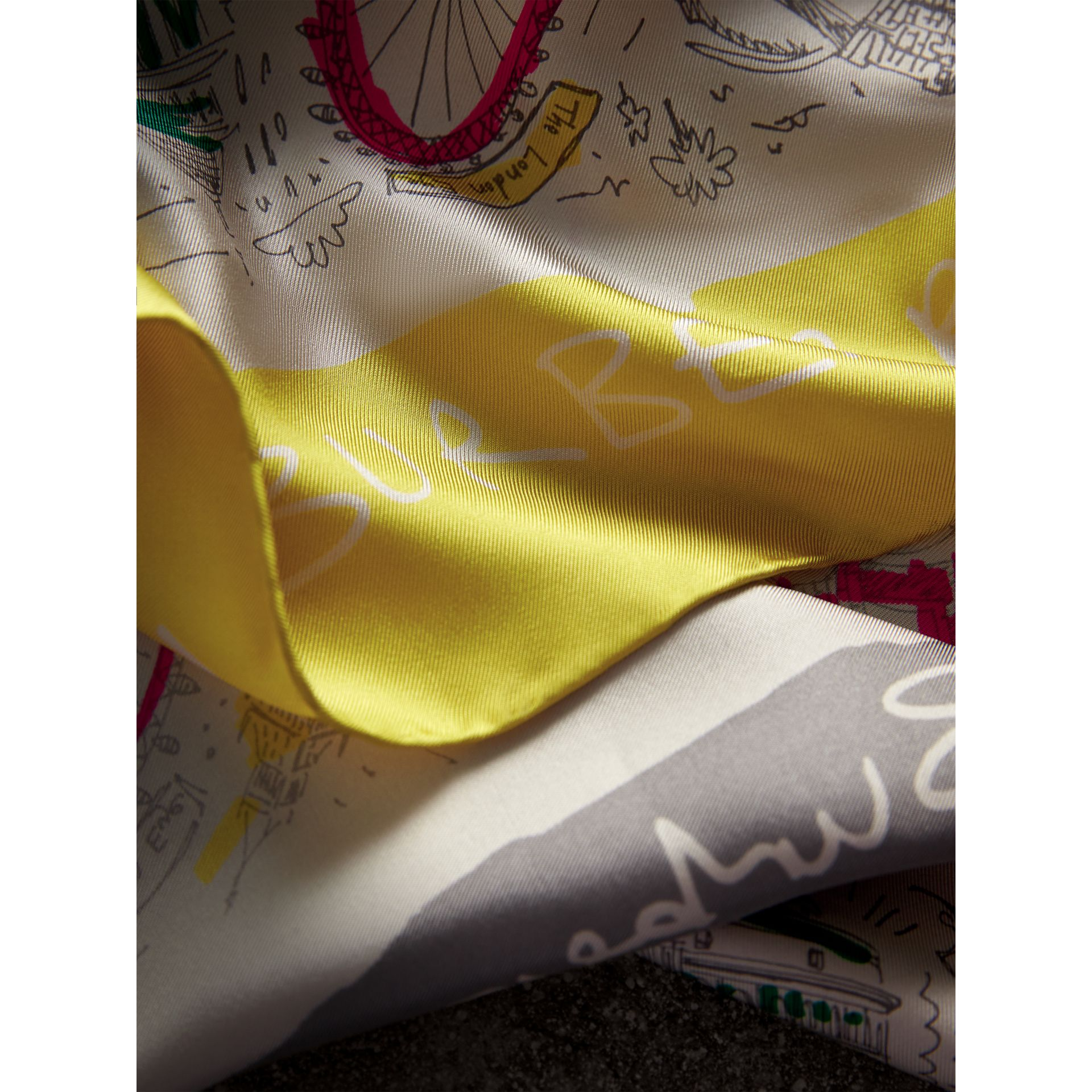 London Print Silk Square Scarf in Bright Peony | Burberry Australia - gallery image 1