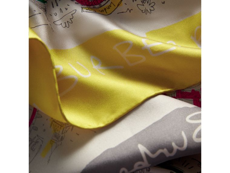 London Print Silk Square Scarf in Bright Peony | Burberry - cell image 1
