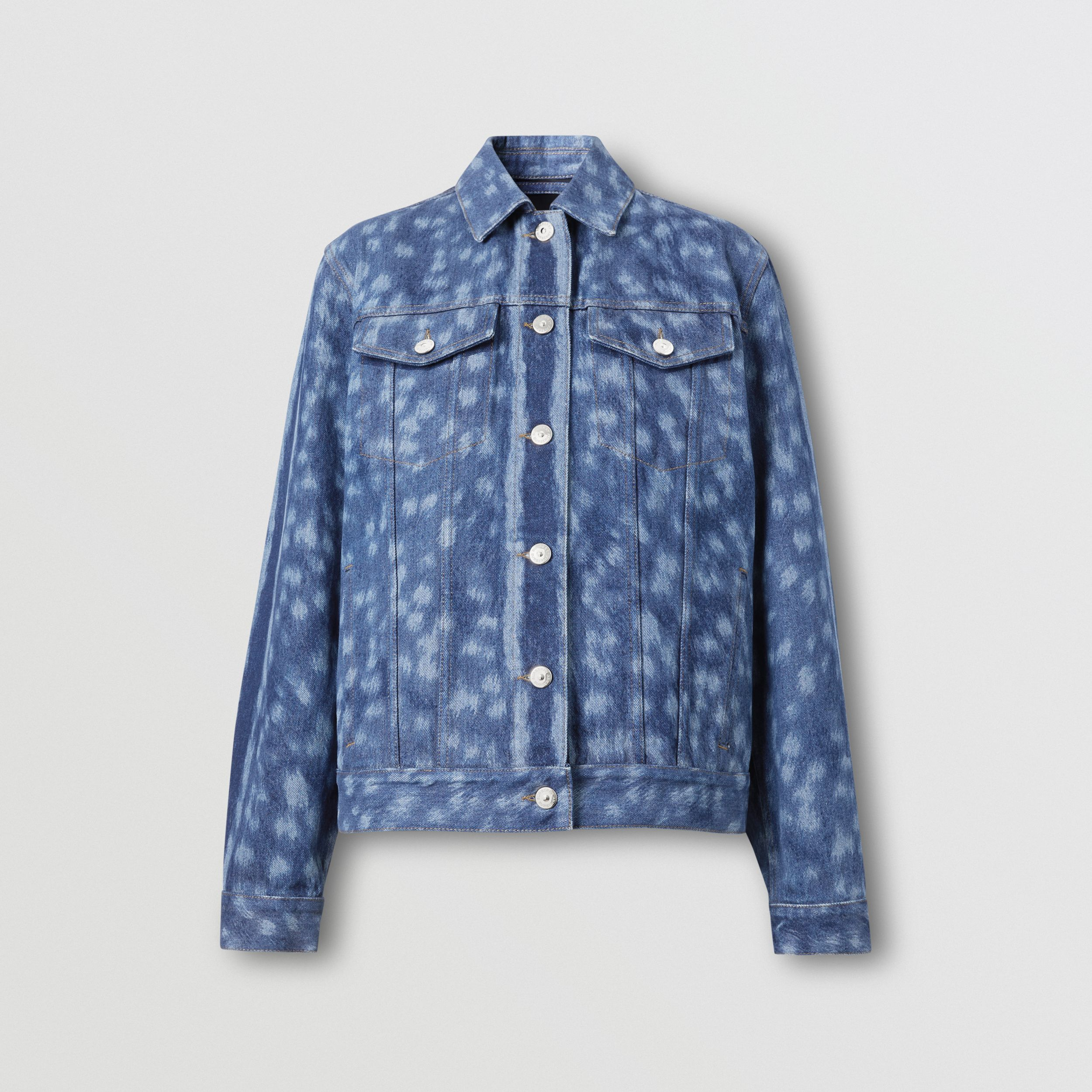 Deer Print Denim Jacket in Mid Indigo - Women | Burberry - 4