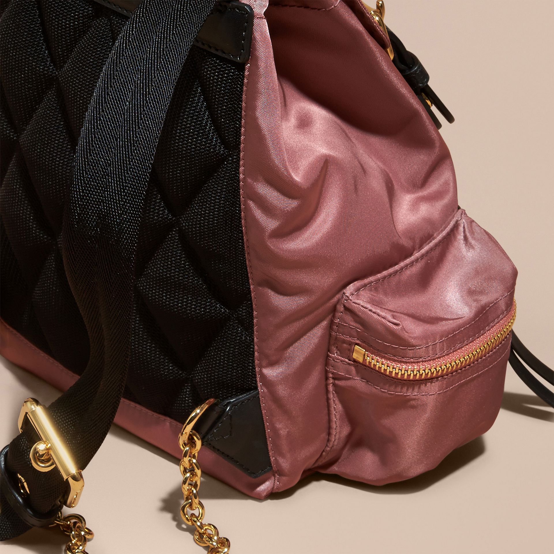 The Small Rucksack in Technical Nylon and Leather Mauve Pink - gallery image 4