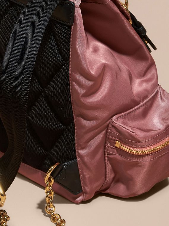 Mauve pink The Small Rucksack in Technical Nylon and Leather Mauve Pink - cell image 3