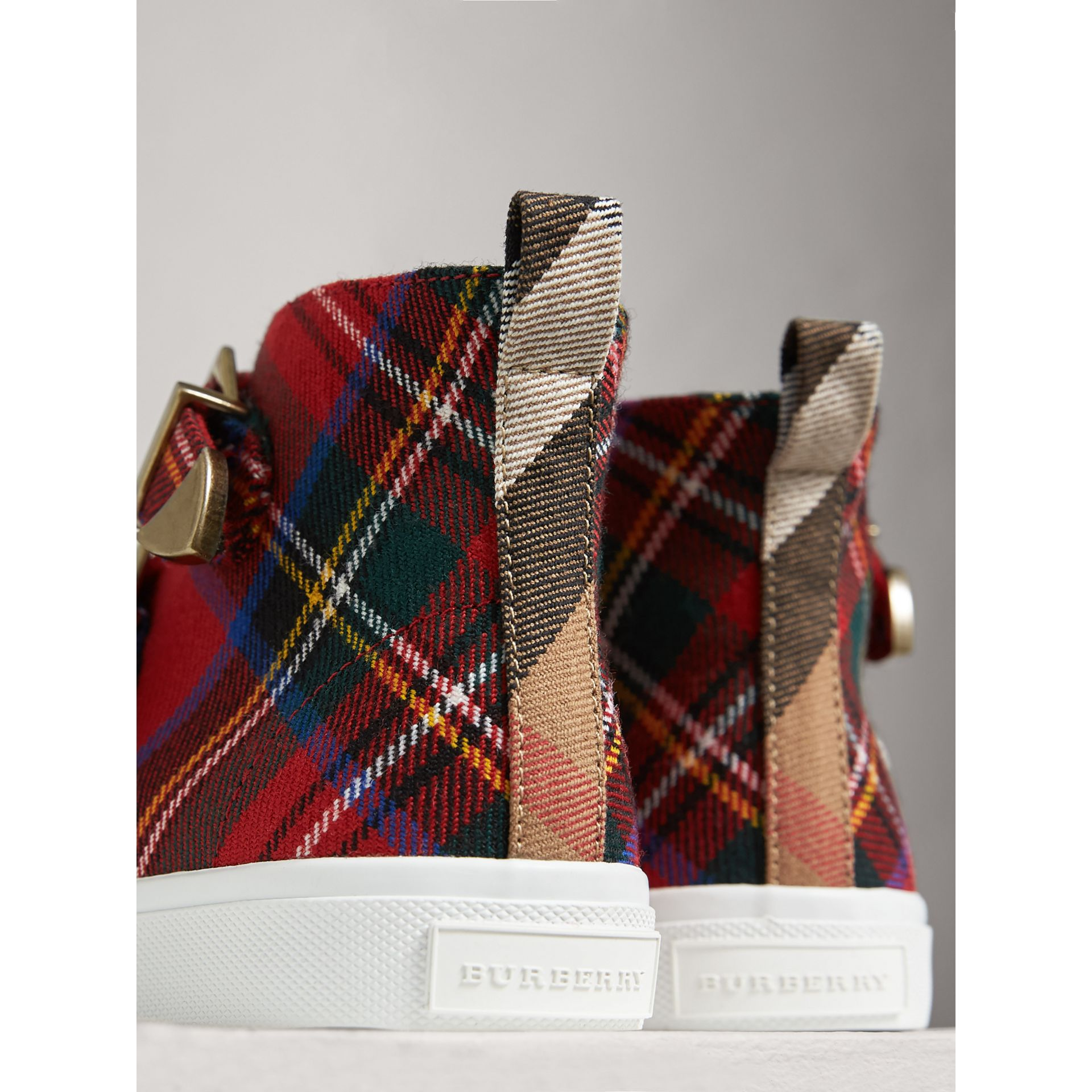 Buckle Detail Tartan Wool High-top Sneakers in Bright Red | Burberry Singapore - gallery image 2
