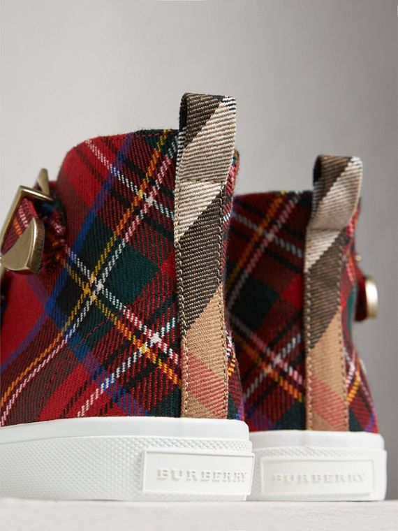Buckle Detail Tartan Wool High-top Sneakers in Bright Red | Burberry Singapore - cell image 2